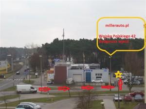 Wypożyczalnia samochodów dostawczych Bydgoszcz, wynajem i serwis aut millerauto.pl wjazd od ulicy Wojska Polskiego